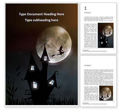 Holiday/Special Occasion: Scary Background with Flying Witch on the Full Moon Word Template #16286