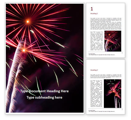 Holiday/Special Occasion: Colorful Fireworks Over the Night Sky Word Template #16288