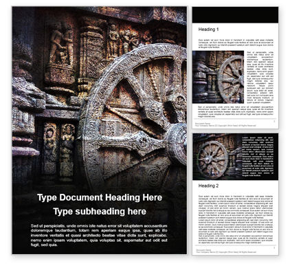 Art & Entertainment: Ashoka Chakra at the Konark Sun Temple Word Template #16291