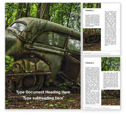 Nature & Environment: Modello Word Gratis - Old car on cemetery #16292