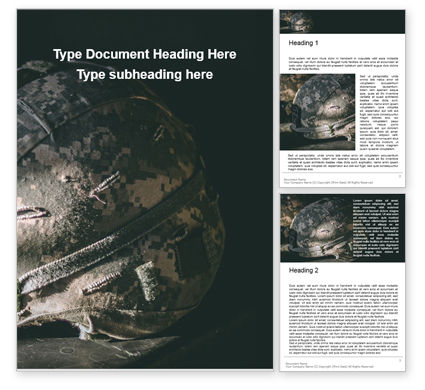 Military: Two Kevlar Helmets with Camouflaged Cover Word Template #16293