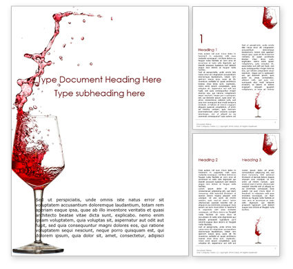 Food & Beverage: Splash Of Red Wine In A Crystal Glass On White Background Gratis Word Template #16299