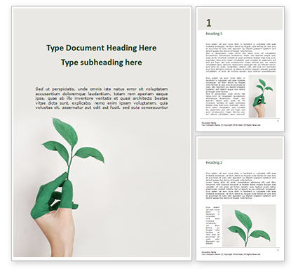 Nature & Environment: Women's Hand is Holding Green Leaf Branch Word Template #16301