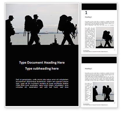Military: Marines Soldiers Silhouettes Word Template #16305