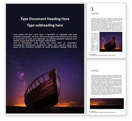 Nature & Environment: Abandoned Wooden Boat Against the Celestial Sky Word Template #16306
