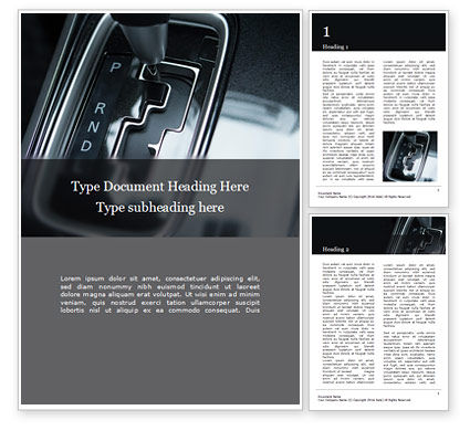 Cars/Transportation: Automatic Gear In Parked Mode Gratis Word Template #16309