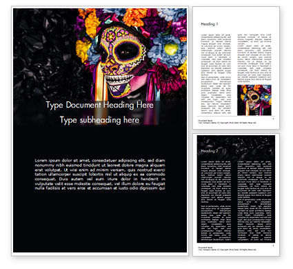 Holiday/Special Occasion: La Calavera Catrina Portrait Word Template #16310