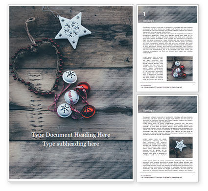 Holiday/Special Occasion: several hanging ornaments on wooden background - 無料Wordテンプレート #16316