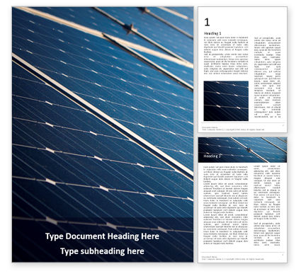 Technology, Science & Computers: Blue Solar Panels Gratis Word Template #16321