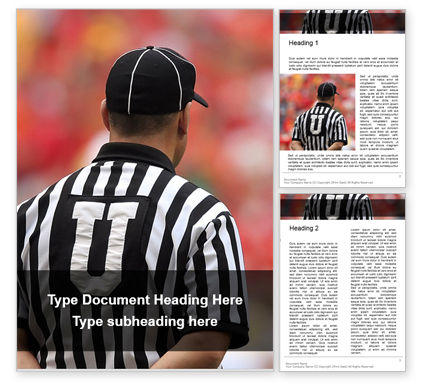 Sports: Closeup of The Back of American Football Referee Word Template #16322