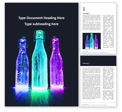 Art & Entertainment: Three Lightened Bottles Word Template #16323