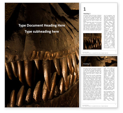 Technology, Science & Computers: 무료 워드 템플릿 - close up of giant dinosaur or t-rex skeleton #16326