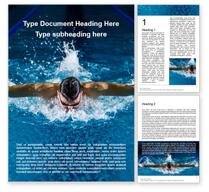 Sports: Muscular Young Man in Swimming Pool Word Template #16328
