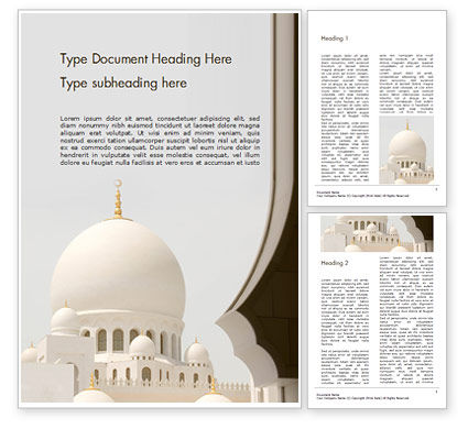 3D: Abu Dhabi Sheikh Zayed White Mosque Gratis Word Template #16329