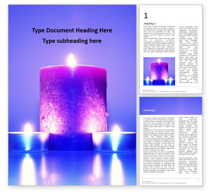 Holiday/Special Occasion: Templat Word Gratis Blue And Purple Candles #16333