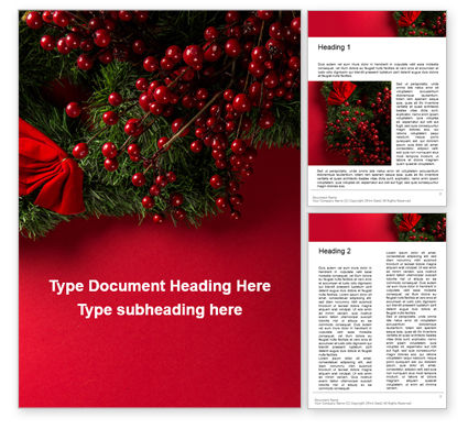 Holiday/Special Occasion: Christmas and New Year Red Background Word Template #16335