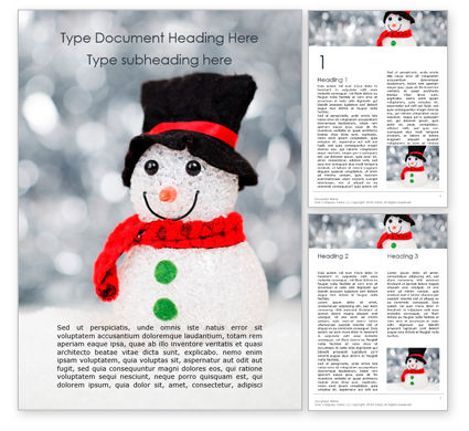 Holiday/Special Occasion: Snowman Against Blurred Festive Bokeh Background Word Template #16336