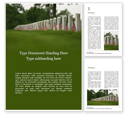 Holiday/Special Occasion: Arlington National Cemetery with Flag Next to Each Headstone During Memorial Day Word Template #16339