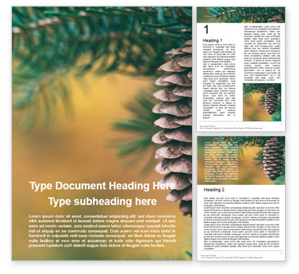 Nature & Environment: Pine Cone on Branch Word Template #16347