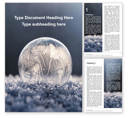 Nature & Environment: Frozen Bubble with Ice Crystals Word Template #16348