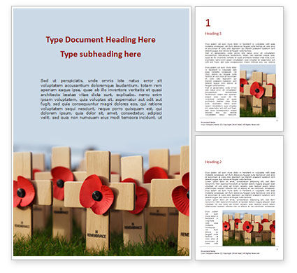 Holiday/Special Occasion: Poppy Crosses Word Template #16351