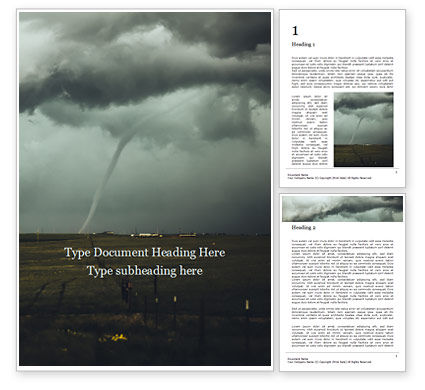 Nature & Environment: Cloudy Tornado and Extreme Weather Word Template #16352
