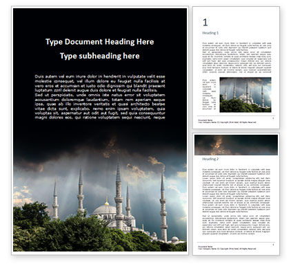 Construction: Suleymaniye mosque under dramatic sky免费Word模板 #16359