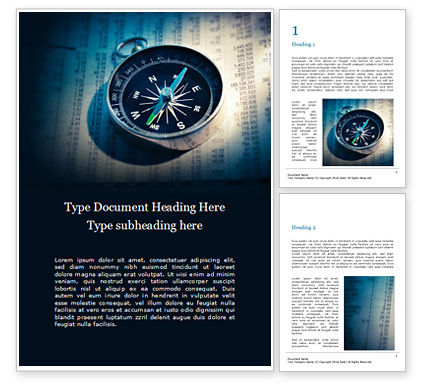 Financial/Accounting: Financial Newspaper and Compass Word Template #16360