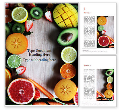 Food & Beverage: Slices of fruits and vegetables Kostenlose Word Vorlage #16361
