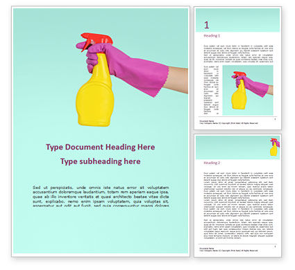 Careers/Industry: female hand holds dispenser on turquoise background - 無料Wordテンプレート #16362