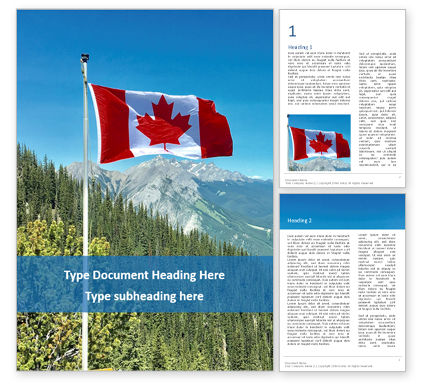 Nature & Environment: National flag of canada flying on the top of sulphur mountain免费Word模板 #16370
