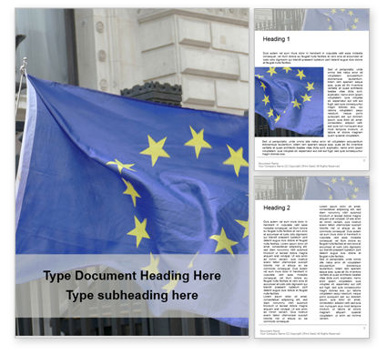 General: European Union Flag Flying on Downing Street Word Template #16374