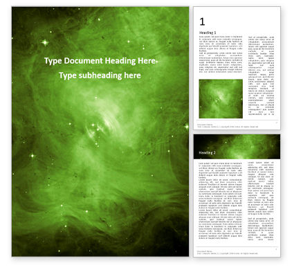 Abstract/Textures: Green Nebulae Gratis Word Template #16379