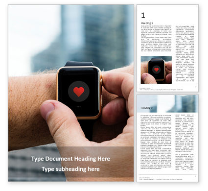 Technology, Science & Computers: Close up of hands with heart icon on smartwatch免费Word模板 #16381