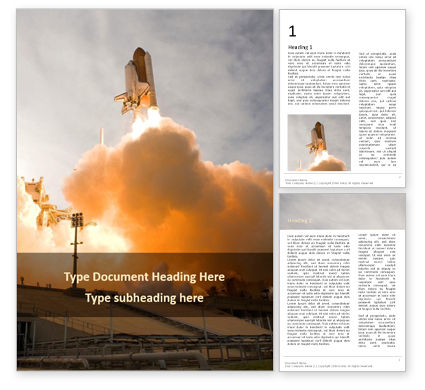 Technology, Science & Computers: Space Shuttle Lifting Off Gratis Word Template #16382