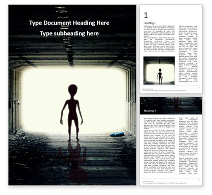 Technology, Science & Computers: 무료 워드 템플릿 - spooky silhouette of alien in tunnel #16389