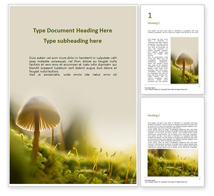 Nature & Environment: Cute Toadstool Macro Word Template #16390