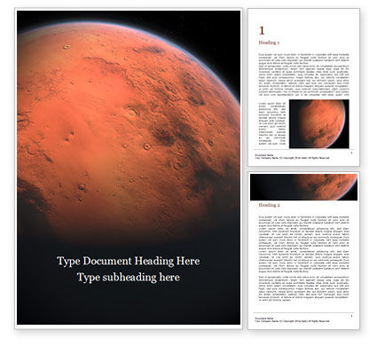 Technology, Science & Computers: Red Planet Mars Gratis Word Template #16391