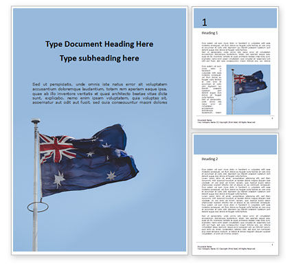 Flags/International: Australian Flag Waving On The Wind Gratis Word Template #16392