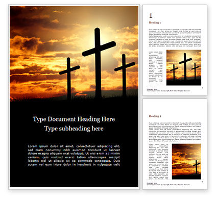 Religious/Spiritual: Three Crosses On Hill Word Template #16395