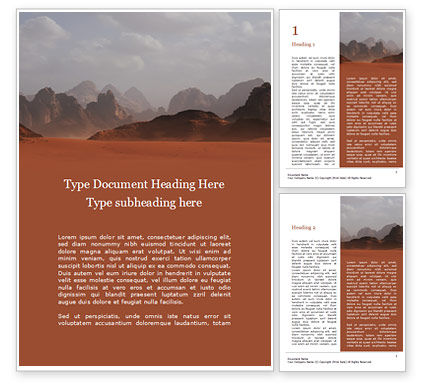 Nature & Environment: Red Mountains Under White Clouds Gratis Word Template #16398