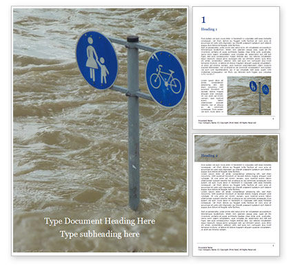 Nature & Environment: City Flood Word Template #16401