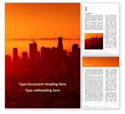 Construction: Urban Sunset Skyline Word Template #16402