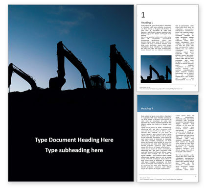 Utilities/Industrial: Modelo de Word Grátis - three excavators work on construction site at sunset #16407