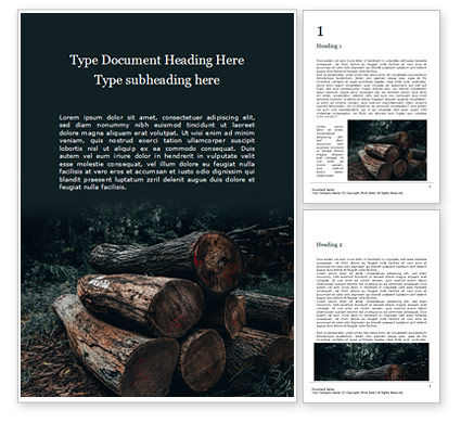 Careers/Industry: Pile of Wood Logs Word Template #16409
