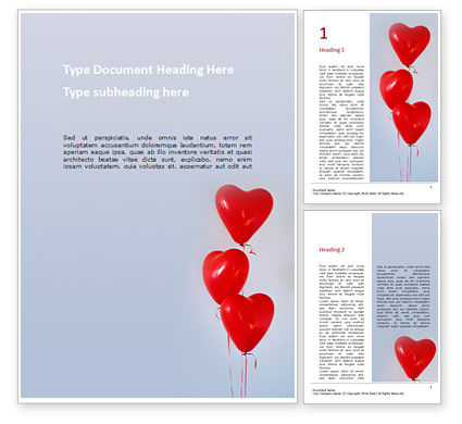 Holiday/Special Occasion: Heart Shaped Balloons Word Template #16410
