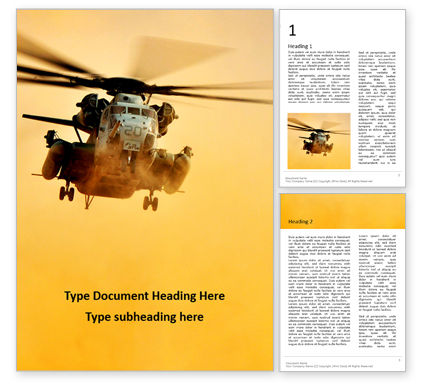 Military: Helicopter In Yellow Sky Gratis Word Template #16411
