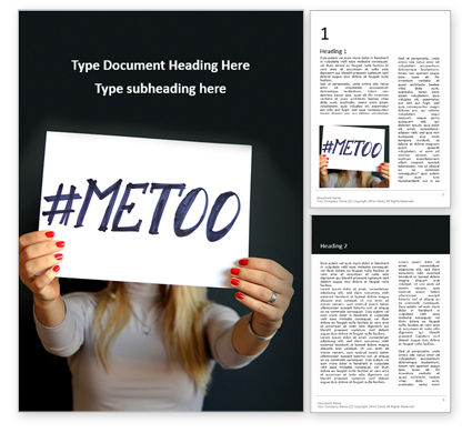People: Woman Holding Paper Sheet With Written MeToo Hashtag Word Template #16416