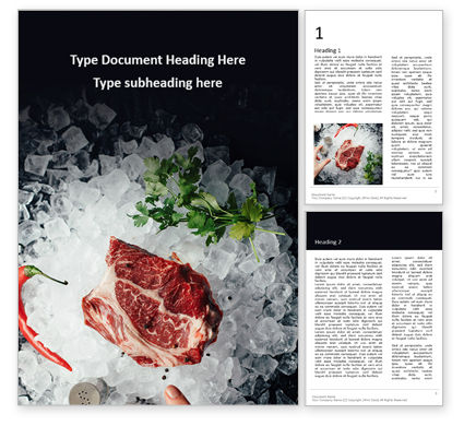 Food & Beverage: Raw Meat and Ice Cubes on Table Word Template #16417