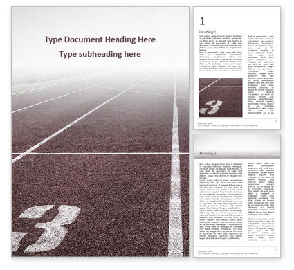 Sports: Retro Sport Running Track Word Template #16418